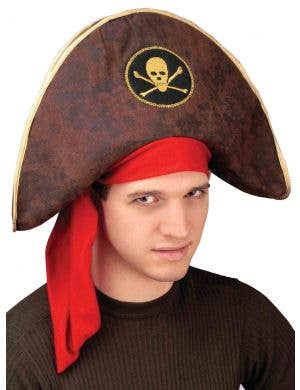 Brown Padded Pirate Captain Hat Image 1