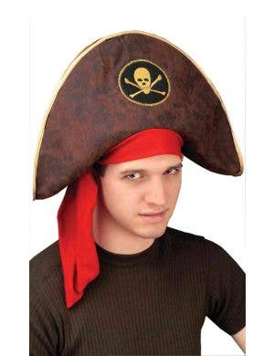 Brown Padded Pirate Captain Hat Image 1 77cfe81a0c85