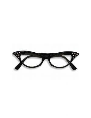1950's Rock N Roll Black Diamante Ladies Costume Glasses