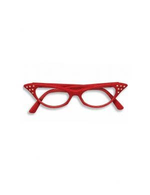 Rock N Roll 1950's Red Costume Glasses With Diamantes