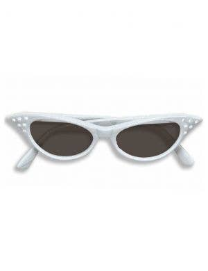 1950's Women's White  Costume Accessory Sunglasses With Rhinestones