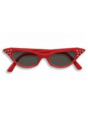 1950's Retro Red Ladies Glasses With Black Lenses