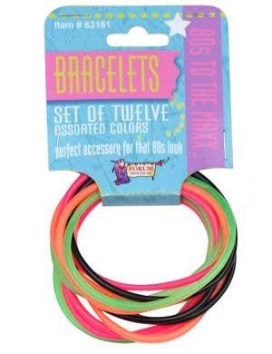 Fluro Rainbow 1980's Costume Bracelets