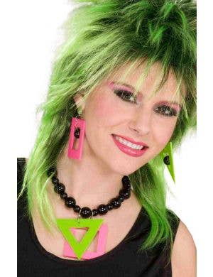 1980's Neon Pink And Green Geometric Shape Necklace and Earring Set