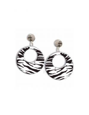 1980's Clip On Black and White Zebra Print Costume Earrings