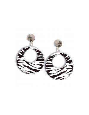 1980's Clip On Black and White Zebra Print Costume Earrings