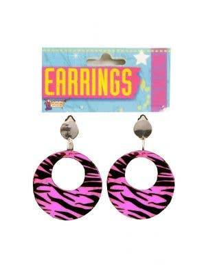 80's Women's Pink And Black Zebra Clip On Costume Earrings