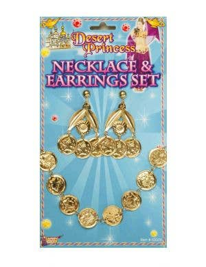 Gypsy Princess Gold Coin Necklace and Earrings Accessory Set