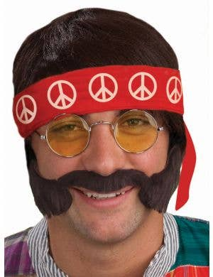 Men's 60's Hippie Costume Accessory Kit With Glasses, Wig, Headband, Moustache And Sideburns