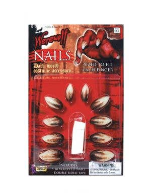 Werewolf Claws Fake Stick On Nails Costume Accessory