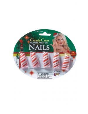 Candy Cane Women's Red And White Striped Stick On Fake Nails