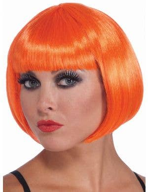 Orange Short Bob Cut Women's Costume Wig Accessory