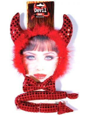 Sequined Red Devil Horns Costume Accessory Set