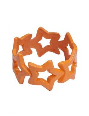 1980's Chunky Orange Retro Star Bangle Costume Accessory