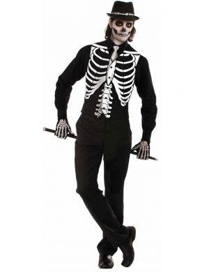 Skeleton Black And White Mens Vest Halloween Costume Accessory