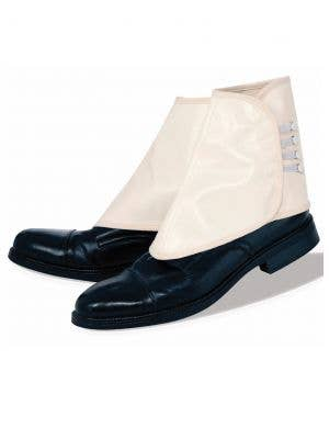 1920's White Vinyl Gangster Shoe Spats Costume Accessory