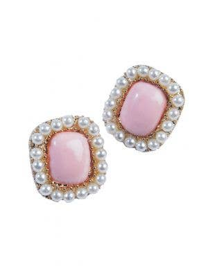 Vintage Gold And Pink Earrings With Pearl Details Costume Accessory
