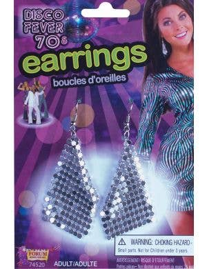 Silver Mesh 1970's Disco Earrings Costume Accessory
