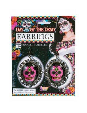 Women's Pink Sugar Skull Earring Image 1