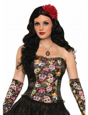 Women's Sugar Skull Printed Costume Corset Top