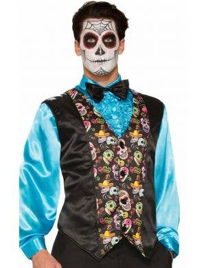 Men's Day of the Dead Sugar Skull Printed Costume Vest