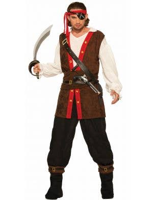 Pirate Bounty Mens Brown Fancy Dress Costume
