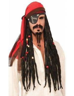 Long Brown Men's Pirate Wig Dreadlocks with Red Bandanna