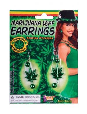 Marijuana Leaf Green Earrings Costume Accessory