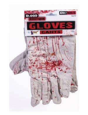 Blood Spattered Gloves White Halloween Costume Accessory