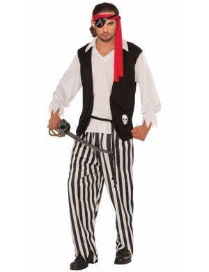 Striped Mens Pirate Buccaneer Fancy Dress Costume