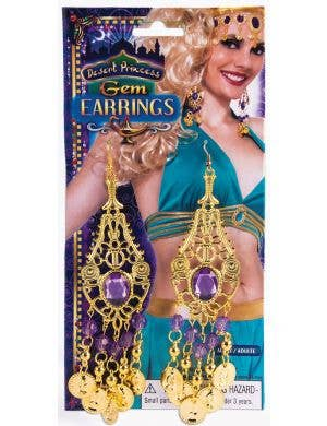 Belly Dancing Gold And Purple Coin Teardrop Earrings Image 1