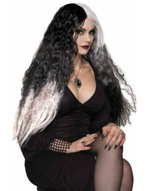Wicked witch womens long black and white crimped wavy Halloween costume wig