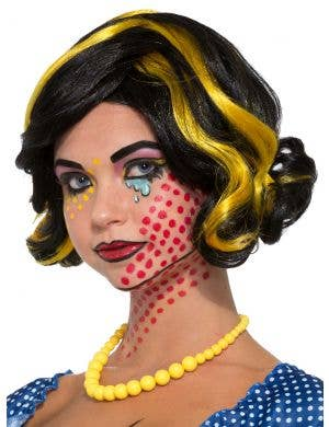 Betty Bam Black and Yellow Women's Pop Art Costume Wig