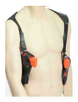 Leather Look Double Shoulder Holster with Included Orange Guns