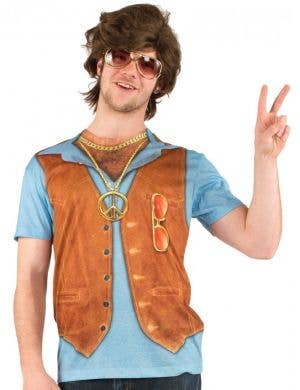 Men's 1970's Hairy Chested Hippie Printed Costume Top Front