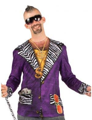 Men's Big Pimp Purple Faux Real Printed Costume Top Front