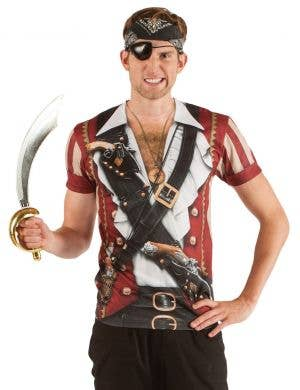 Men's Hairy Chested Swashbuckling Pirate Printed Costume Top Front