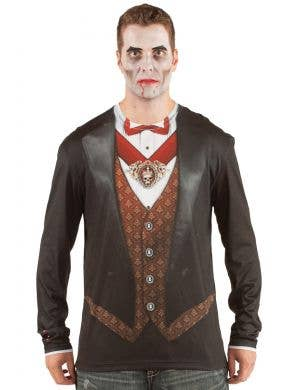 Men's Count Dracula Vampire Print Faux Real Costume Top Front