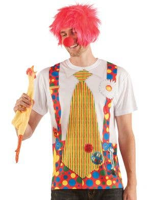 Men's Clown with Big Tie Faux Real Printed Costume Top Front