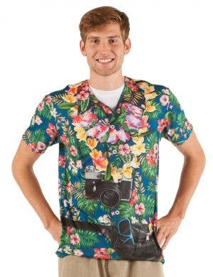 Men's Faux Real Tropical Tourist Printed Costume T-Shirt Front View