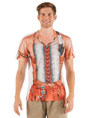 Men's Big Chief American Indian Printed Faux Real Costume Top Front