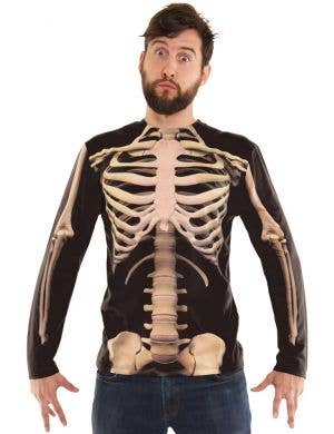 Faux Real Skeleton Print Men's Halloween Costume Shirt