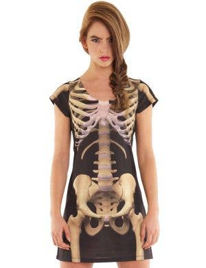 Faux Real Skeleton Print Women's Halloween Costume Dress