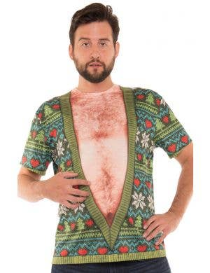 Faux Real Deep V Hairy Chest Funny Christmas Costume Top