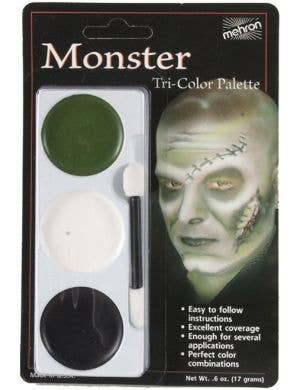 3 Colour Frankenstein Halloween Face Paint Makeup Palette