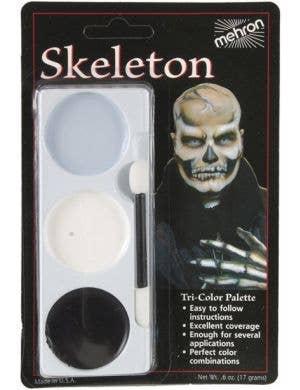 3 Colour Skeleton Halloween Face Paint Makeup Palette