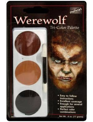 3 Colour Werewolf Halloween Face Paint Makeup Palette
