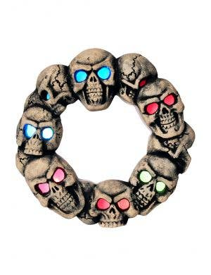 Skulls Door Wreath Halloween Decoration with Rainbow Lights