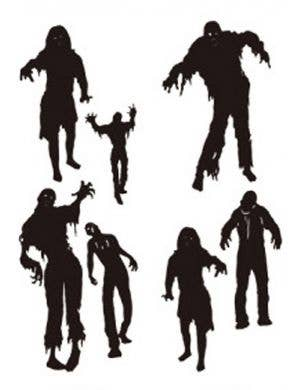 Zombie Silhouette Vinyl Wall Decals Halloween Decoration