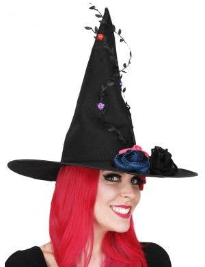 Black Canvas Flowered Vine Elegant Witch Hat